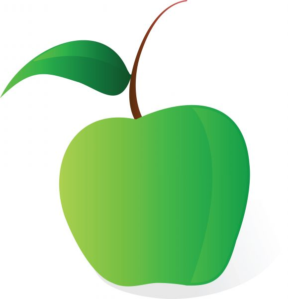 579x600 Illustration Cartoon Green Apple Vector File On White Background