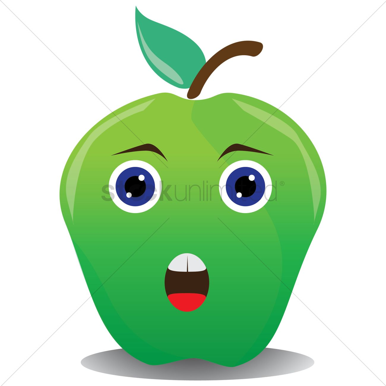 1300x1300 Shocked Green Apple Vector Image