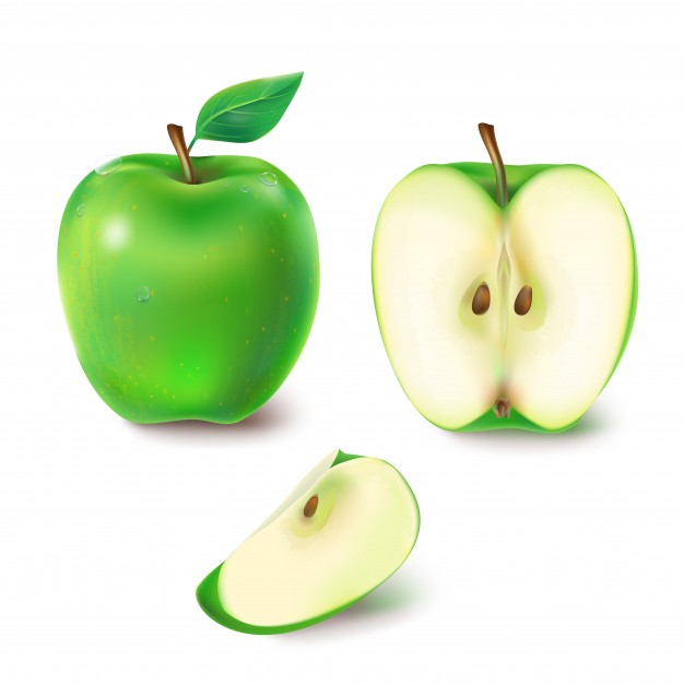 626x626 Vector Illustration Of A Juicy Green Apple. Vector Free Download