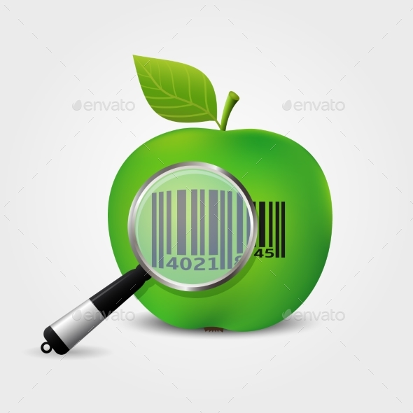 590x590 Checking Bar Code On Green Apple Vector By Fad86 Graphicriver