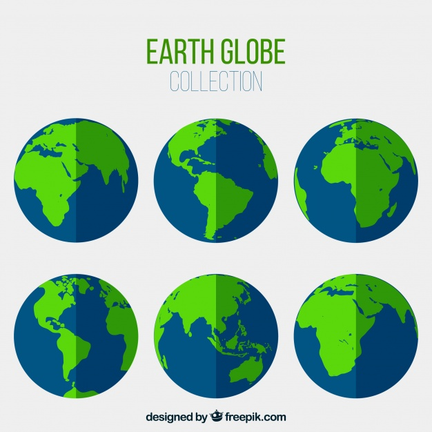 626x626 Assortment Of Blue And Green Earth Globes Vector Free Download