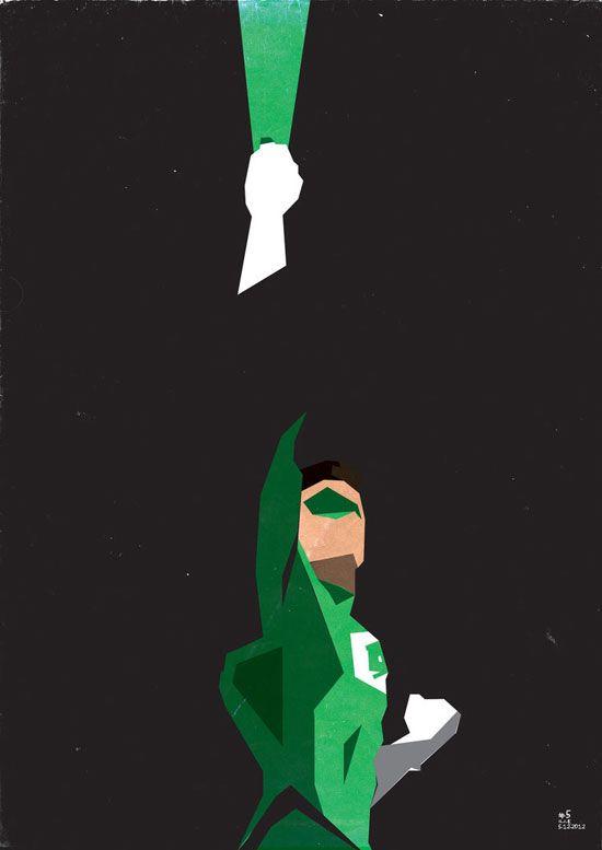 550x777 Green Lantern Vector Minimalist Superhero And Villain Print T