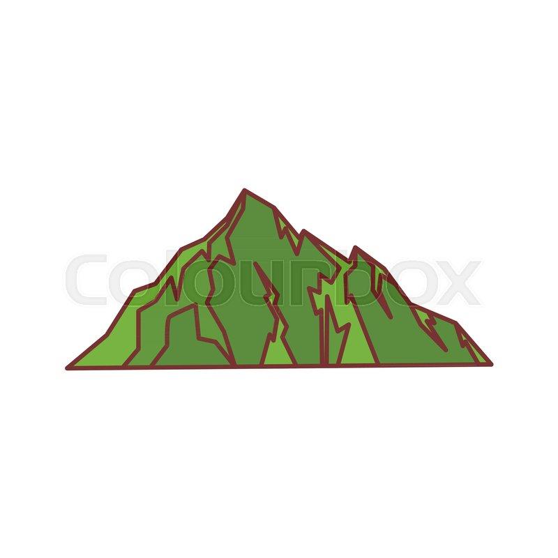 800x800 Green Hill Mountain Icon. Cartoon Illustration Of Mountain Vector