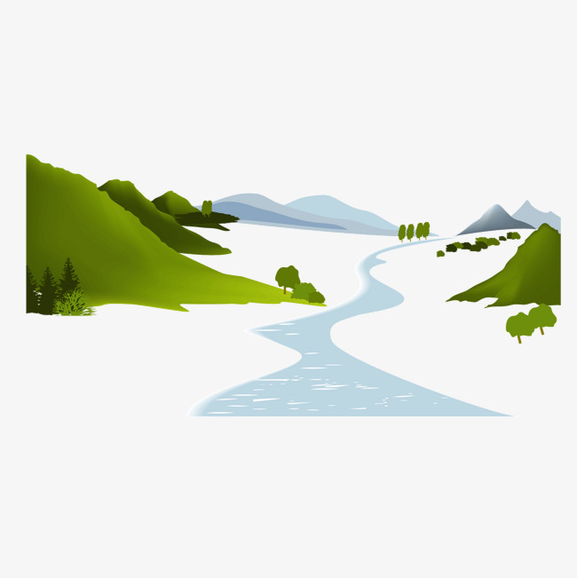 650x651 Vector Mountain River Green Mountain Tree River, Mountain Vector