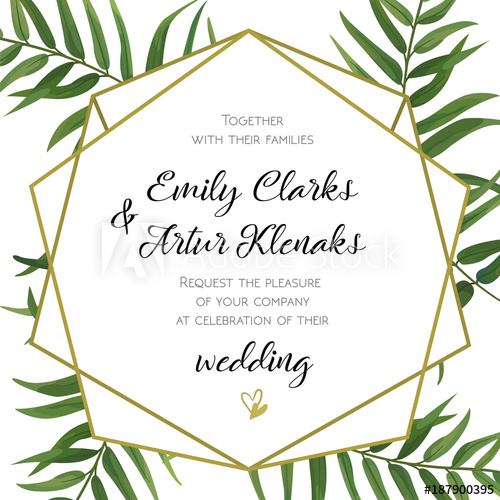 500x500 Wedding Invitation, Floral Invite Card Design With Green Tropical
