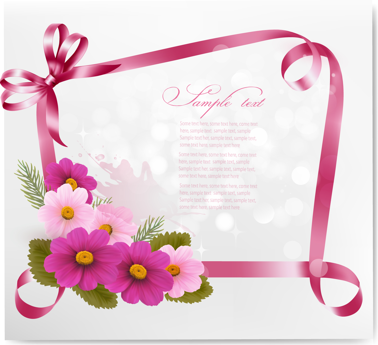 1535x1400 Ribbon With Flower Greeting Card Vector 02 Free Download