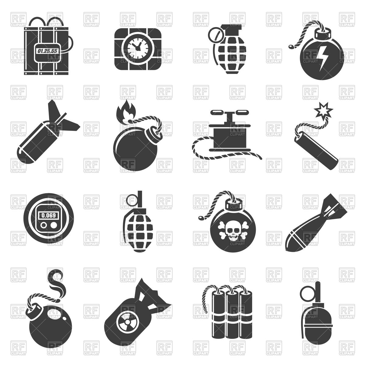 1200x1200 Set Of Bomb, Grenade And Mine Icons Vector Image Vector Artwork