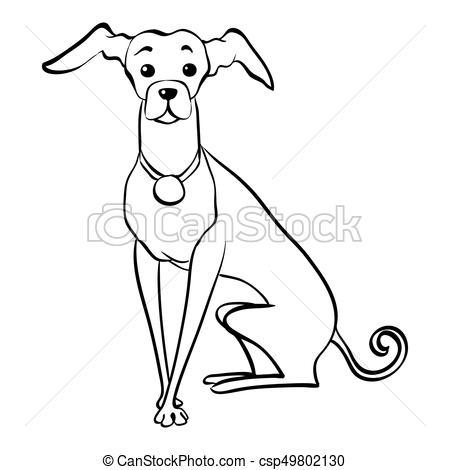 450x470 Vector Sketch Funny Italian Greyhound Dog Sitting. Sketch Funny