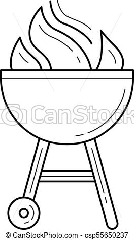 264x470 Charcoal Grill Vector Line Icon. Charcoal Grill Vector Line Icon
