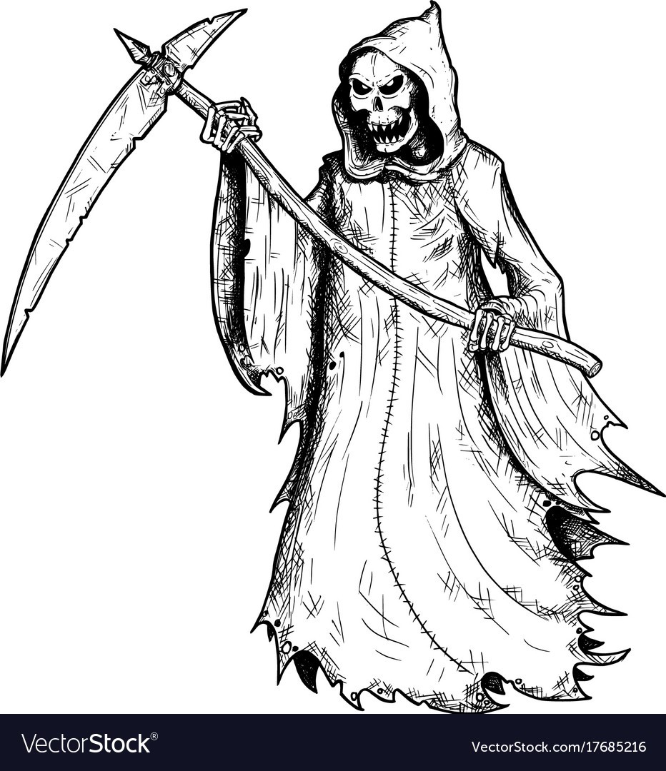 932x1080 Hand Drawing Of Halloween Grim Reaper Vector 17685216 Drawings 8