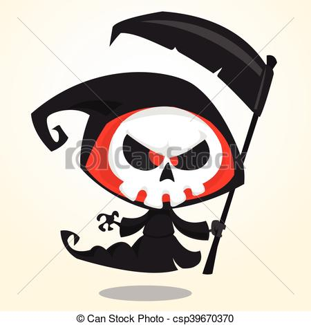 450x470 Cute Cartoon Grim Reaper With Scythe Isolated On White. Cute