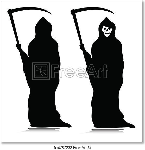 561x581 Free Art Print Of Grim Reaper Vector Silhouettes Freeart Fa4787233