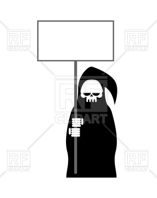 316x400 Grim Reaper With Empty Billboard, Death In Black Hood Vector Image
