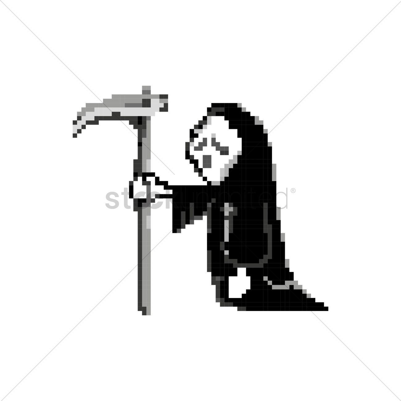 1300x1300 Pixel Art Grim Reaper Vector Image