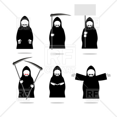 400x400 Set Of Deaths In Overalls. Grim Reaper In Different Poses. Vector