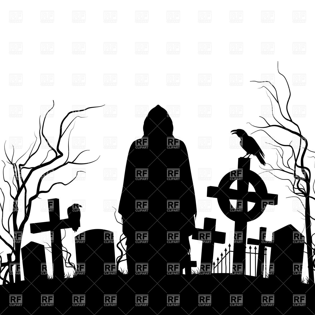 1200x1200 Silhouette Of The Grim Reaper And Cemeteries Vector Image Vector