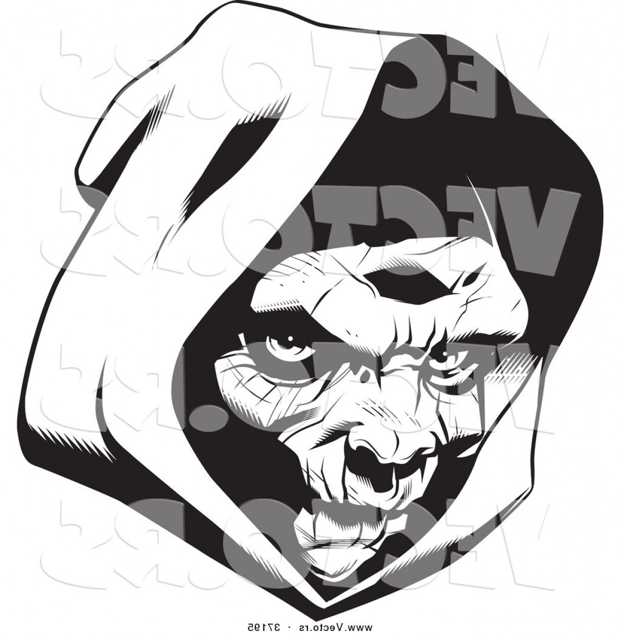 1228x1252 Vector Of A Grim Reaper Wearing A Hood Black And White Line Art By