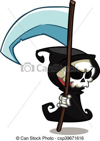 336x470 Vector Cartoon Grim Reaper. Vector Cartoon Illustration Of Spooky