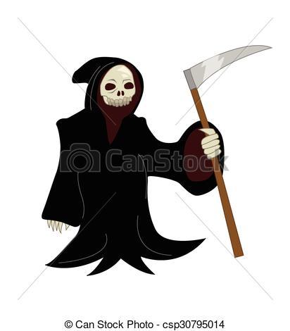412x470 Vector Cartoon Illustration Of A Grim Reaper.