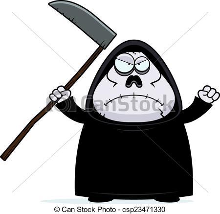 450x437 Angry Cartoon Grim Reaper. A Cartoon Illustration Of A Grim Reaper
