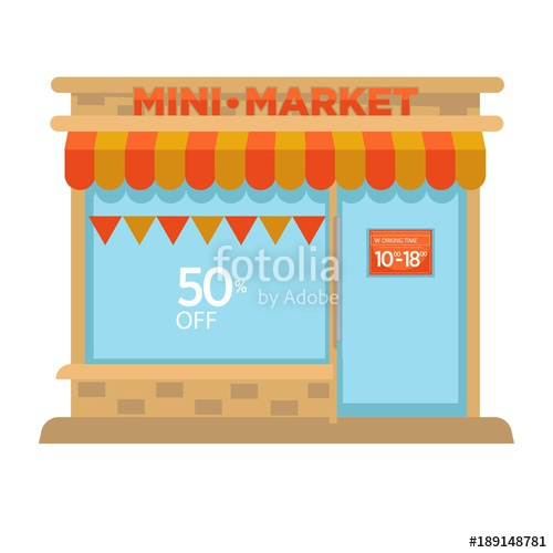 500x500 Mini Market Shop Booth Facade Building Of Grocery Store Vector