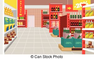 300x190 Supermarket Shop, Vector Illustration. Facade Grocery Store