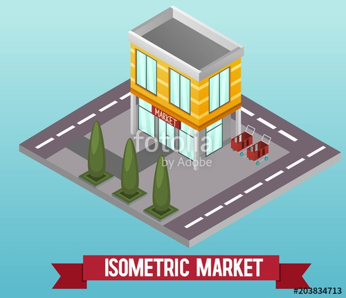 500x430 Vector Low Poly Isometric Shop Or Supermarket. Vector Isometric