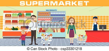 450x210 Family In Supermarket. Color Illustration Of A Family Shopping In