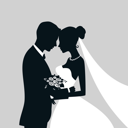 500x500 Bride With Groom Silhouettes Vector Free Download