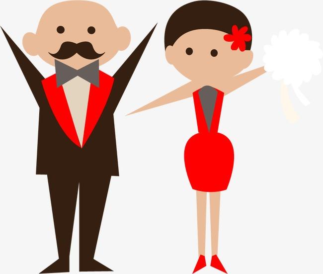 650x551 Cartoon Bride And Groom Vector Material, Cartoon Vector, Wedding