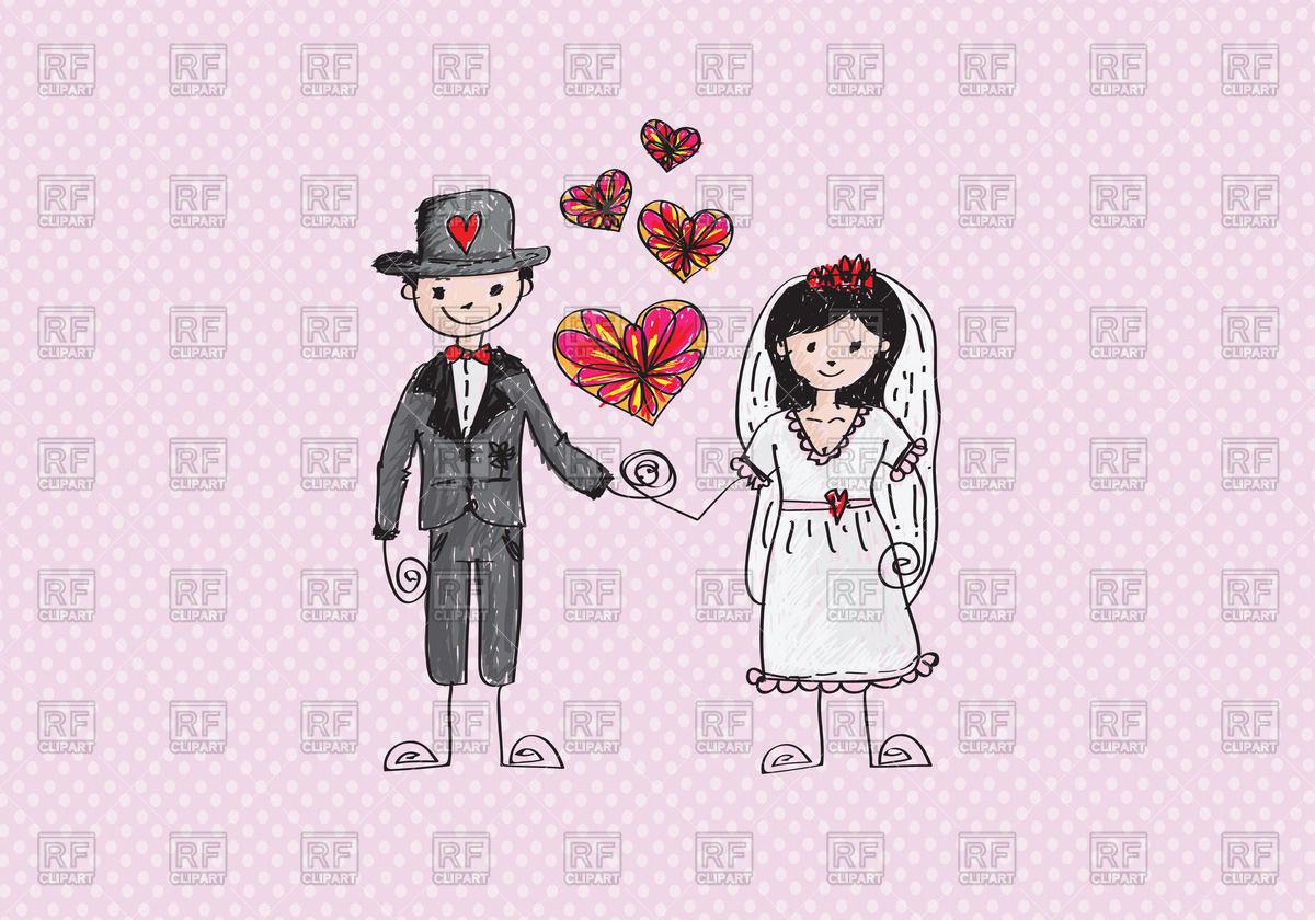 1200x840 Colorful Sketch Of Bride And Groom Vector Image Vector Artwork