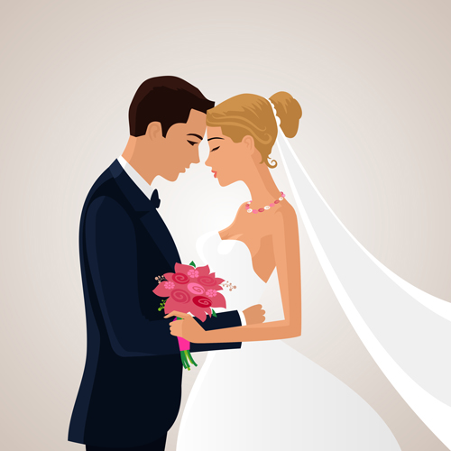 500x500 Beautiful Bride And Groom Vector Set 03 Free Download