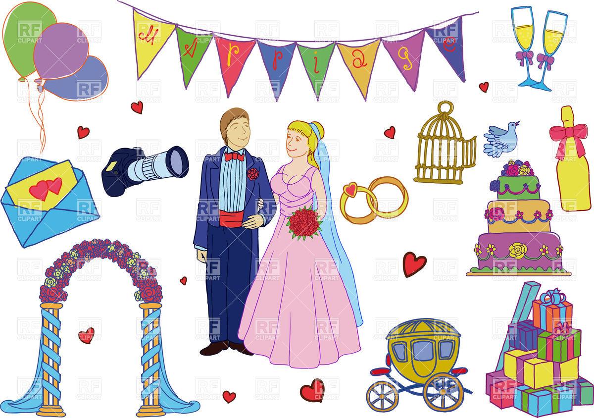 1200x844 Simple Cartoon Wedding Decorations And Bride With Groom Vector