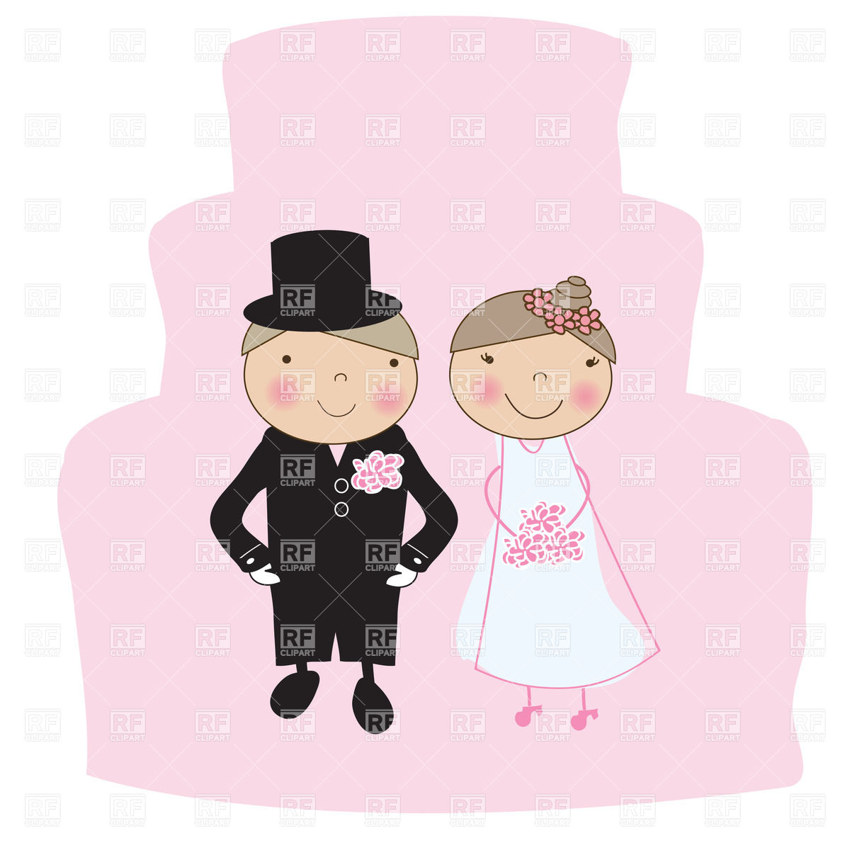 1200x1200 Wedding Illustration With Bride And Groom Vector Image Vector