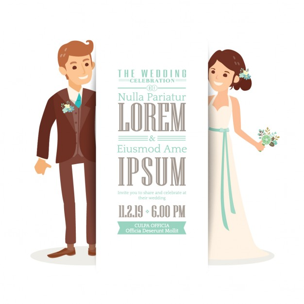 626x626 Wedding Invitation With A Cute Bride And Groom Vector Free Download