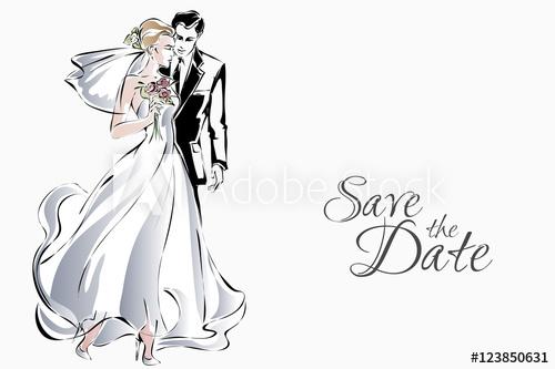 500x333 Wedding Invitation With Sweet Couple, Happy Bride And Groom