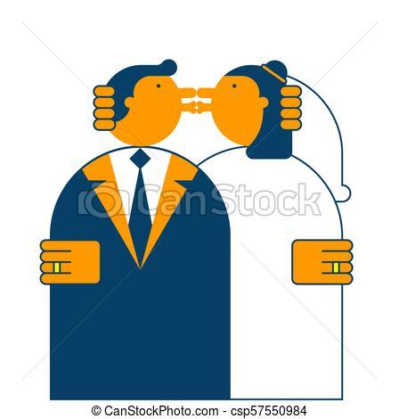 448x470 Wedding Kiss. Bride And Groom. Vector Illustration.