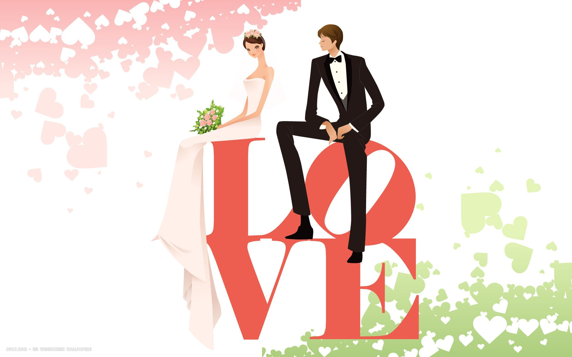 1920x1200 Wedding Day Love Cute Couple Bride Groom Vector Hd Widescreen