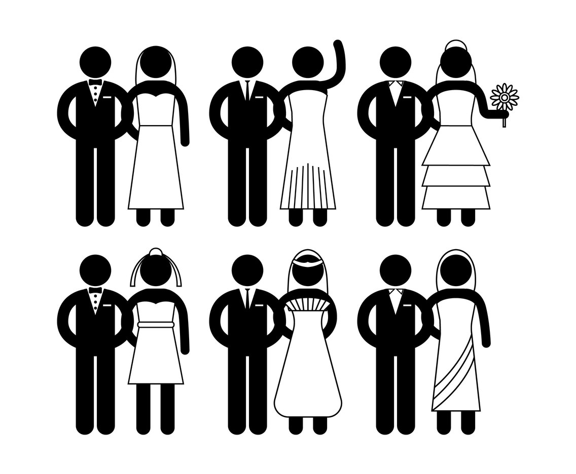 1136x936 Bride And Groom Vector Simple Icon Set Vector Art Amp Graphics