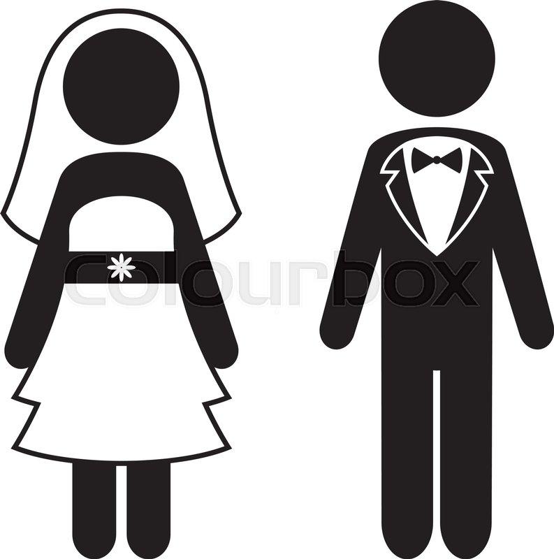 793x800 Bride And Groom Vector Icons. Wedding Concept Stock Vector