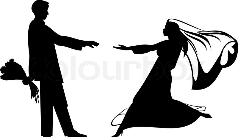800x462 Bride And Groom Silhouettes For Wedding Design Stock Vector