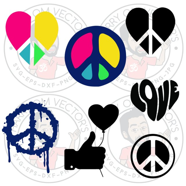 642x642 Peace Amp Love Vectors Groovy Peace Vector Love Svg Thumb Up Etsy