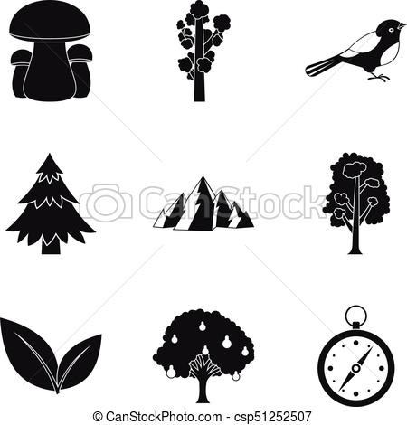 450x470 Hunting Ground Icons Set, Simple Style. Hunting Ground Icons Set