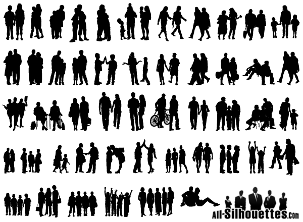 600x440 Free Group Of People Vector Silhouette Free Psd Files, Vectors