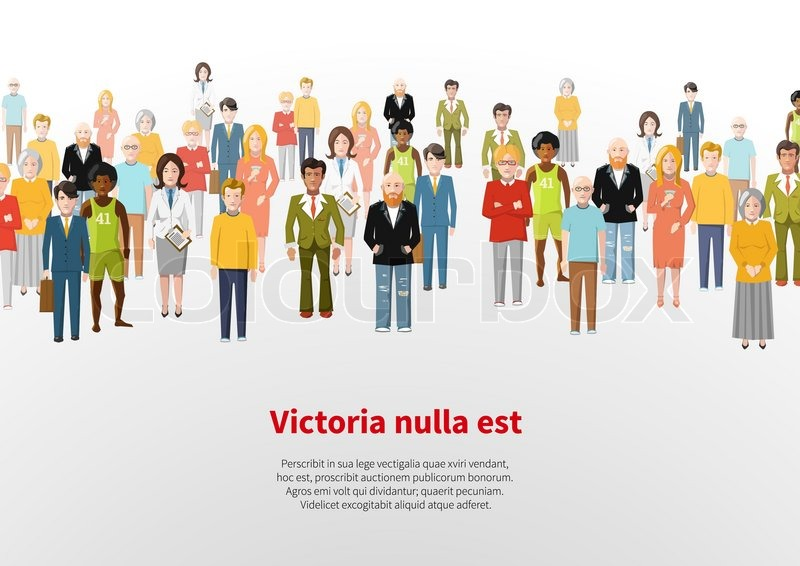800x566 A Large Group Of Cartoon Flat People. Vector Background Stock