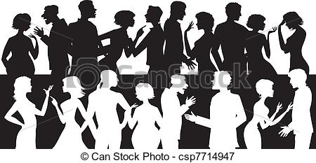 450x233 Group Of Talking People. Silhouettes Of People Talking And Arguing