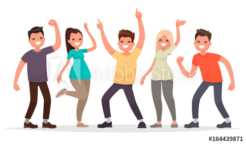500x292 Happy Group Of Young People. Vector Illustration In A Flat Style