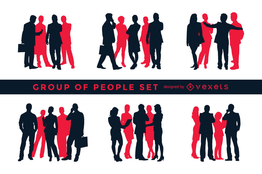 855x570 Silhouette Set Of Groups Of People