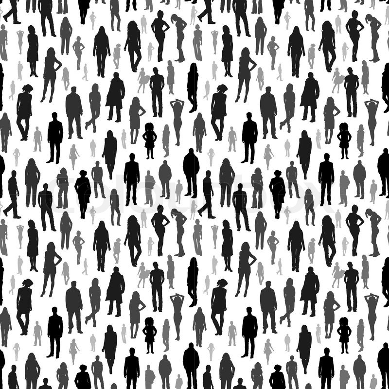 800x800 A Large Group Of People. Vector Seamless Pattern Stock Vector