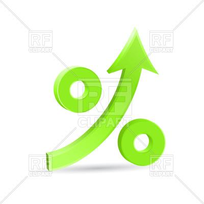 400x400 Percent Up Arrow Icon, Speedy Economic Growth Vector Image